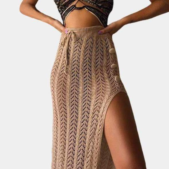 Boho Knit Long Maxi Skirt