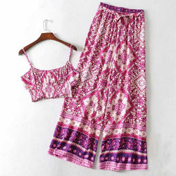 Pink Tribal Print Shirred Cami Top & Belted Trousers