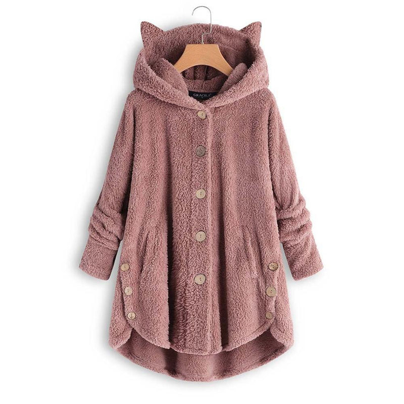 Warm Winter Fleece Fur Coats With Cat Ears