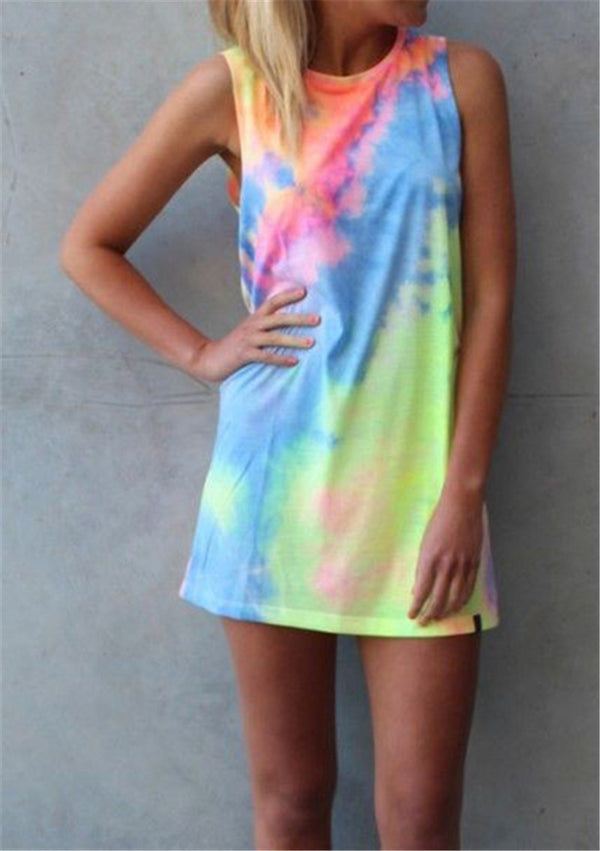 Tie Dye Rainbow Mini Dress