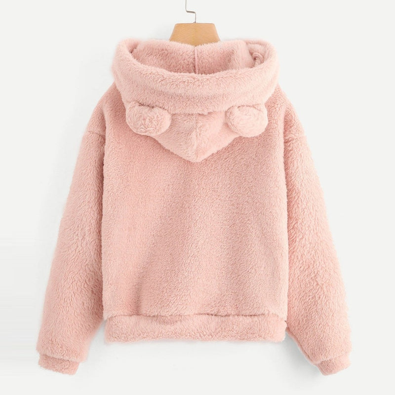 Fluffy Fleece Bear Hoodie