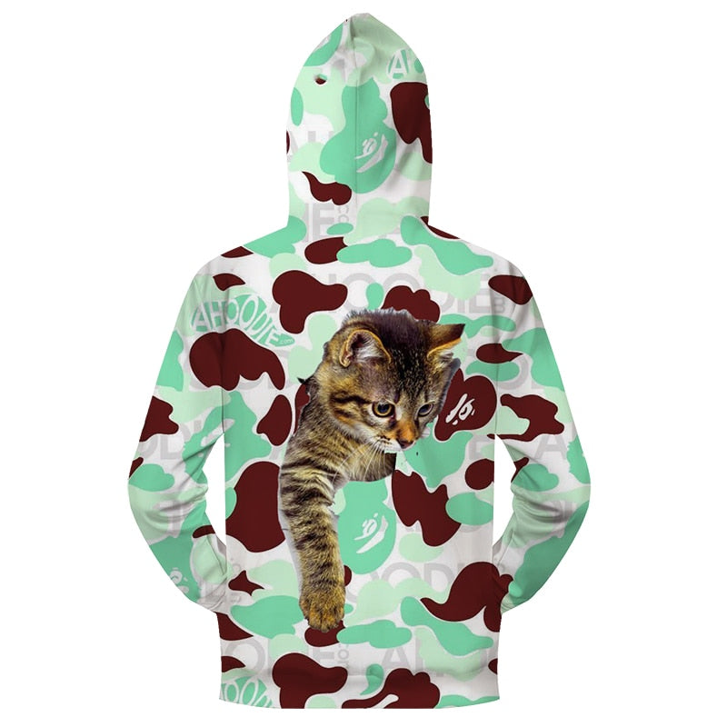 3D Double Side Printed Cute Cat Hoodie Jackets