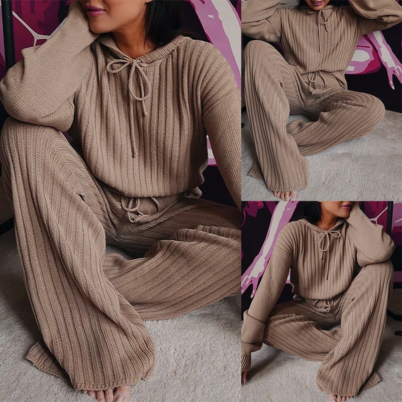 Clarice - Knitted Long Sleeve Top Square Pants Set
