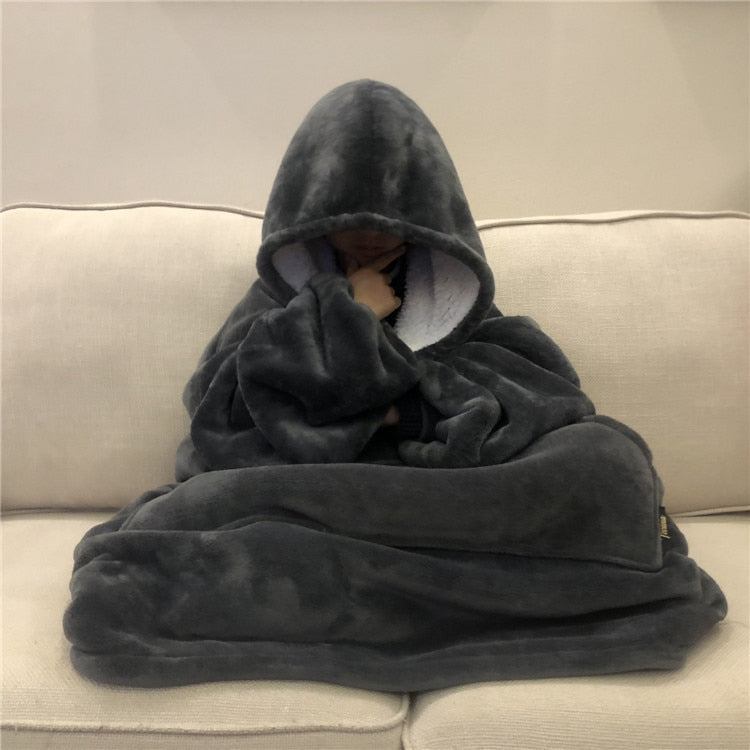 Comfy Thick Hooded Fleece Blanket