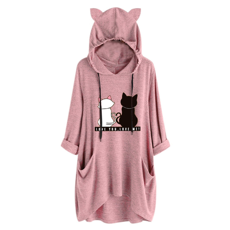 Love You Love Me Cat Print Oversize Hoodie With Cat Ears