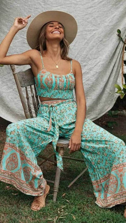 Green Floral Matching Cotton Pant Set