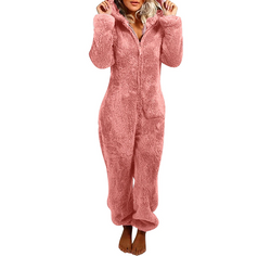 Plush Hooded Jumpsuit