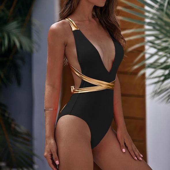 Black and Gold Swimsuit