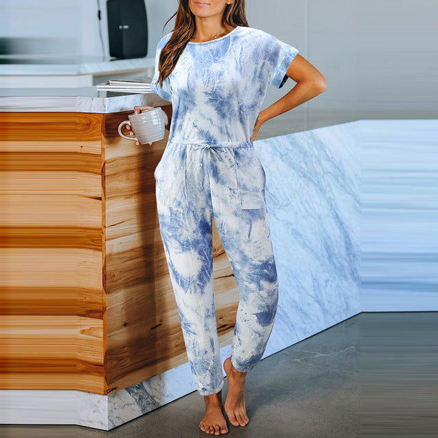 Blue Pocketed Tie-dye Knit Jumpsuit