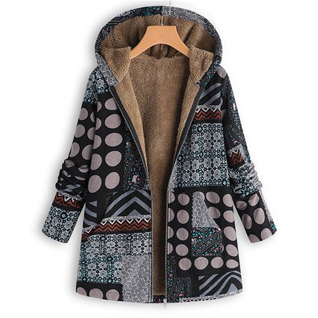 Plus Size Ethnic Bohemian Hooded Coat