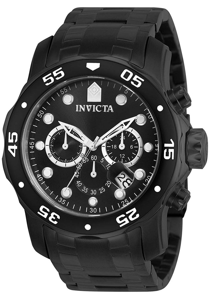 Invicta Pro Diver Black Stainless Steel Chronograph Mens Watch