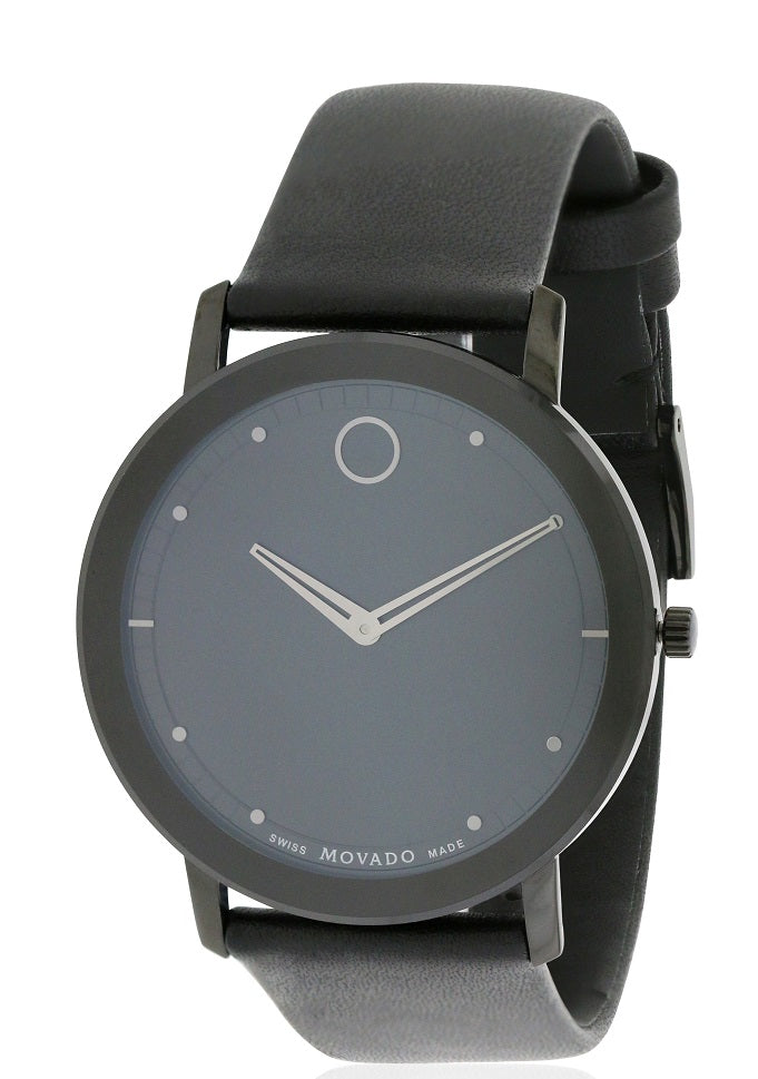 Movado Sapphire Leather Mens Watch