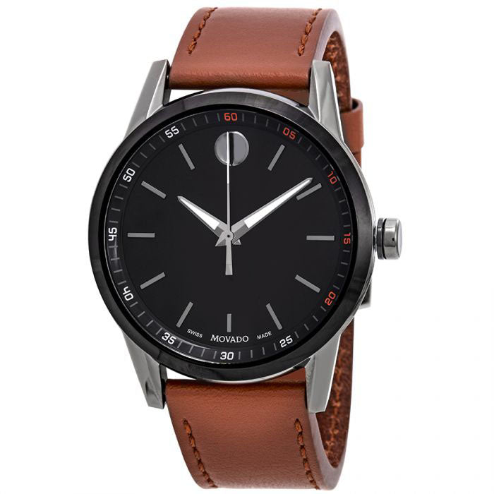 Movado Museum Sport Cognac Leather Mens Watch