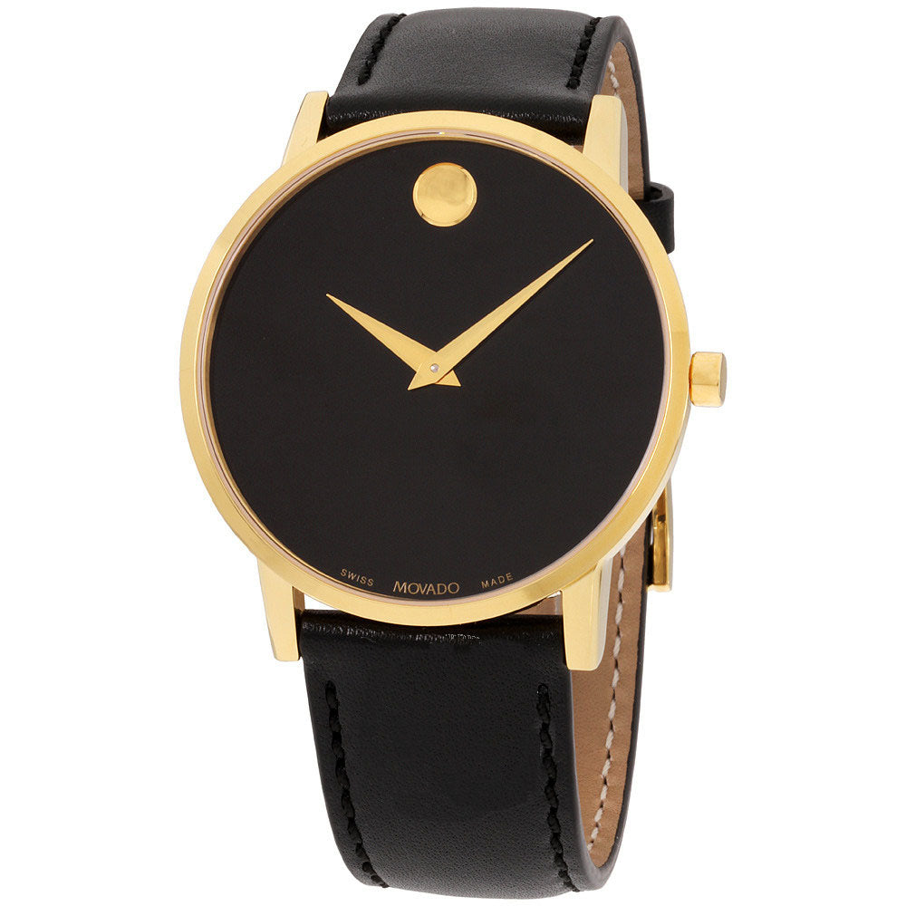Movado Museum Classic Leather Gold PVD Mens Watch