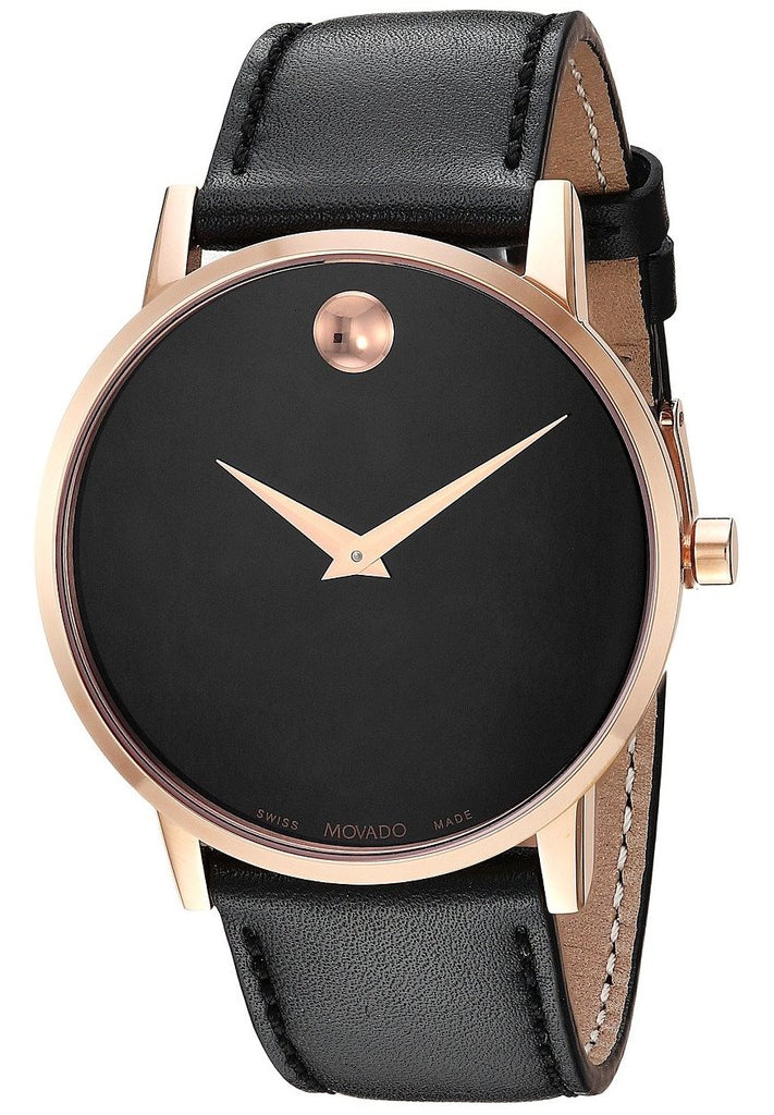 Movado Museum Classic Leather Rose Gold PVD Mens Watch