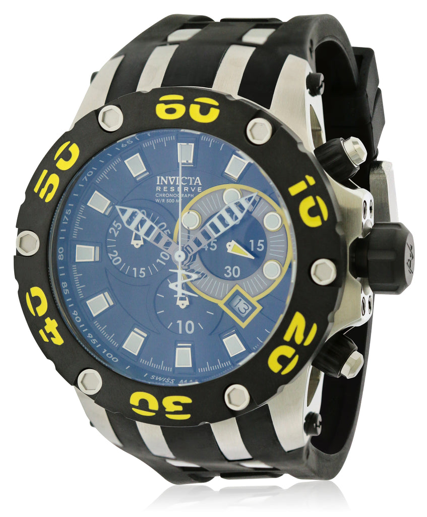 Invicta Scuba Specialty   Reserve Chronograph Black   And Yellow Mens Watch