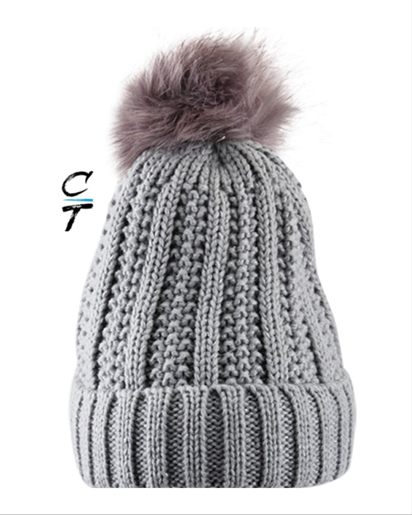 Cozy Time Winter Fur Pom Acrylic Knitted Hats For Extra Warmth and Comfort - Gray