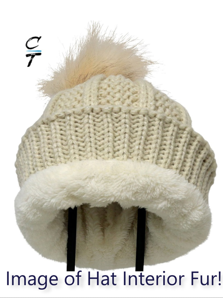 Cozy Time Winter Fur Pom Acrylic Knitted Hats For Extra Warmth and Comfort - Beige