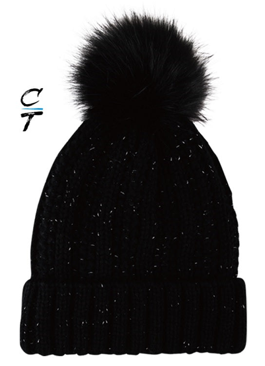 Cozy Time Winter Fur Pom Acrylic Knitted Hats For Extra Warmth and Comfort- Black