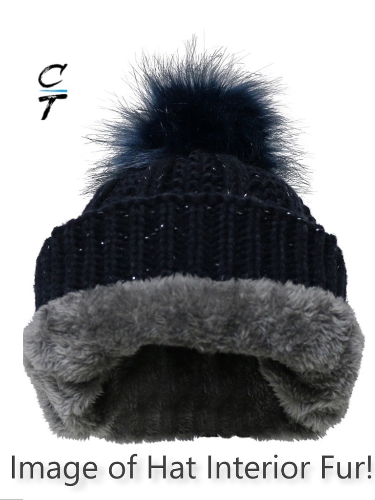 Cozy Time Winter Fur Pom Acrylic Knitted Hats For Extra Warmth and Comfort - Navy