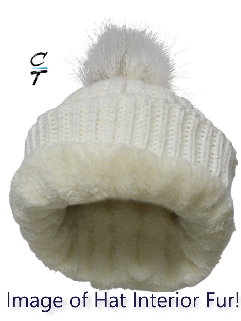 Cozy Time Winter Fur Pom Acrylic Knitted Hats For Extra Warmth and Comfort - White