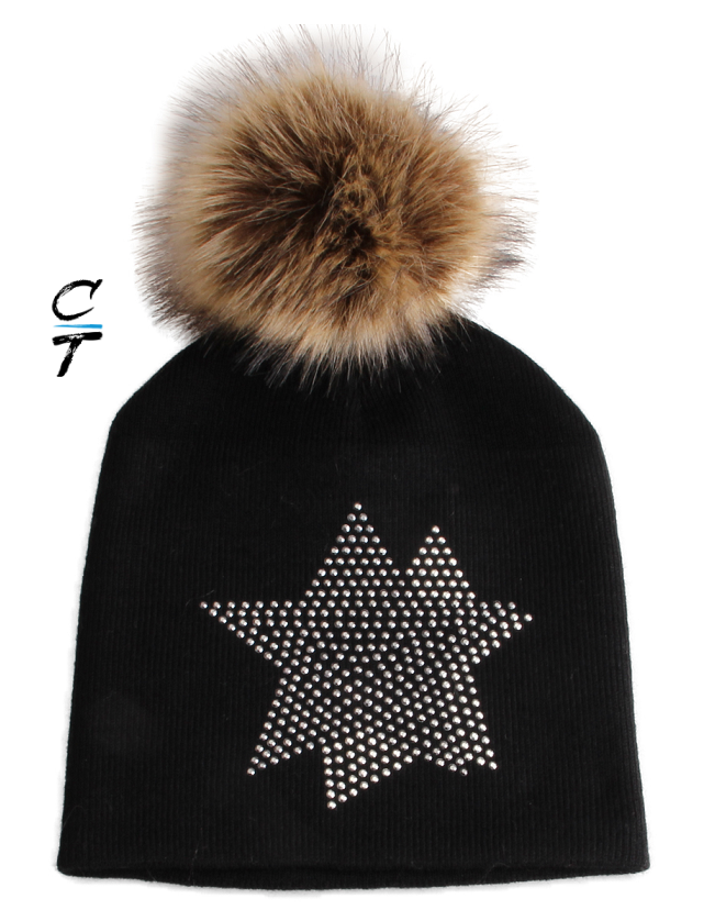Cozy Time Star Embellished Fur Pom Hat For Extra Warmth and Comfort- Black