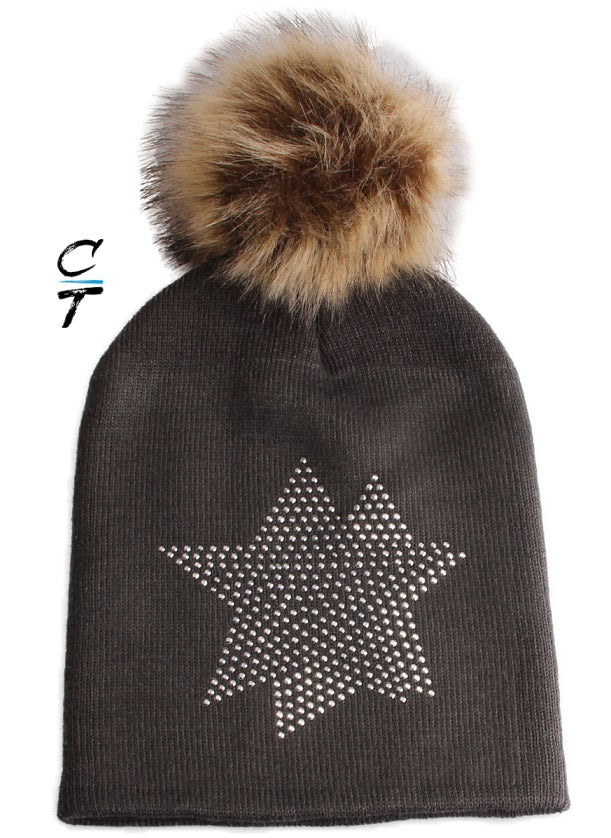 Cozy Time Star Embellished Fur Pom Hat For Extra Warmth and Comfort - Charcoal