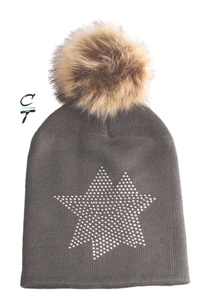 Cozy Time Star Embellished Fur Pom Hat For Extra Warmth and Comfort - Gray