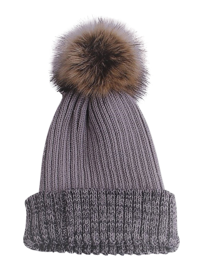 Cozy Time Two Tone Winter Fur Pom Acrylic Knitted Beanie Hats for Extra Warmth and Comfort - Gray/Lilac
