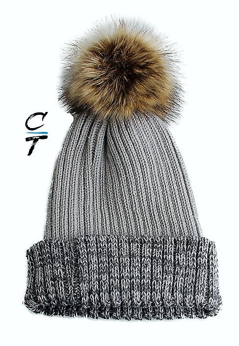 Cozy Time Two Tone Winter Fur Pom Acrylic Knitted Beanie Hats for Extra Warmth and Comfort - Gray