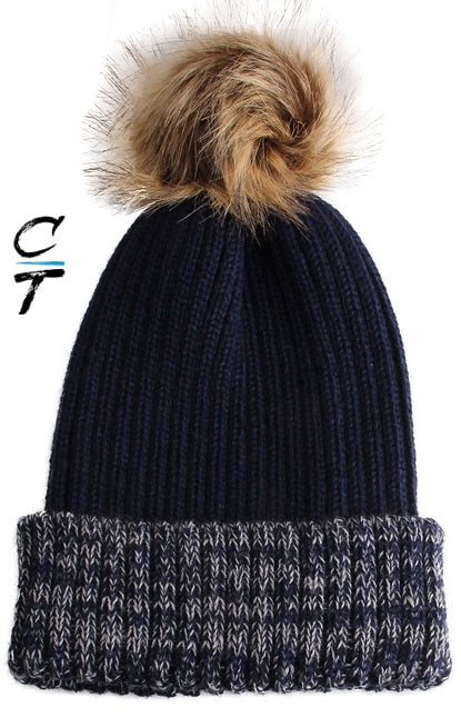 Cozy Time Two Tone Winter Fur Pom Acrylic Knitted Beanie Hats for Extra Warmth and Comfort - Navy