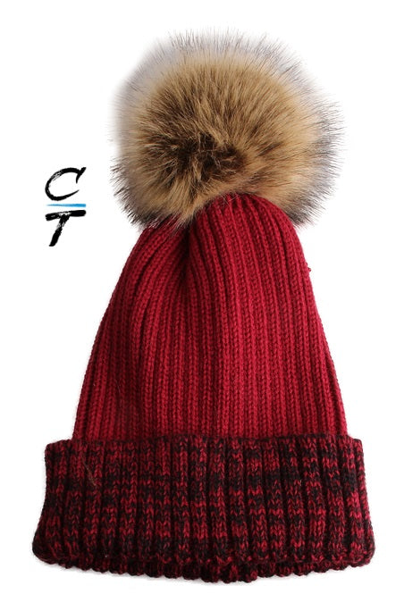 Cozy Time Two Tone Winter Fur Pom Acrylic Knitted Beanie Hats for Extra Warmth and Comfort - Red