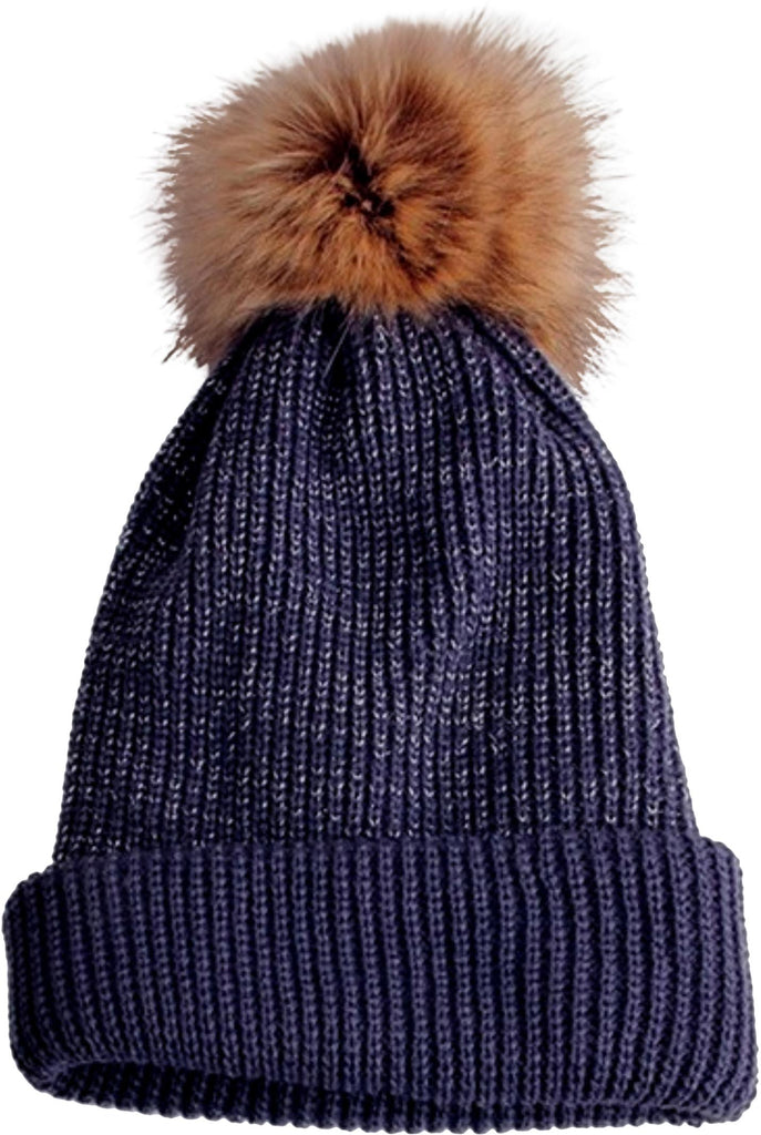 Cozy Time Slouchy Fur Pom Beanie Hat With Metallic Knitted Style for Extra Warmth and Comfort - Navy