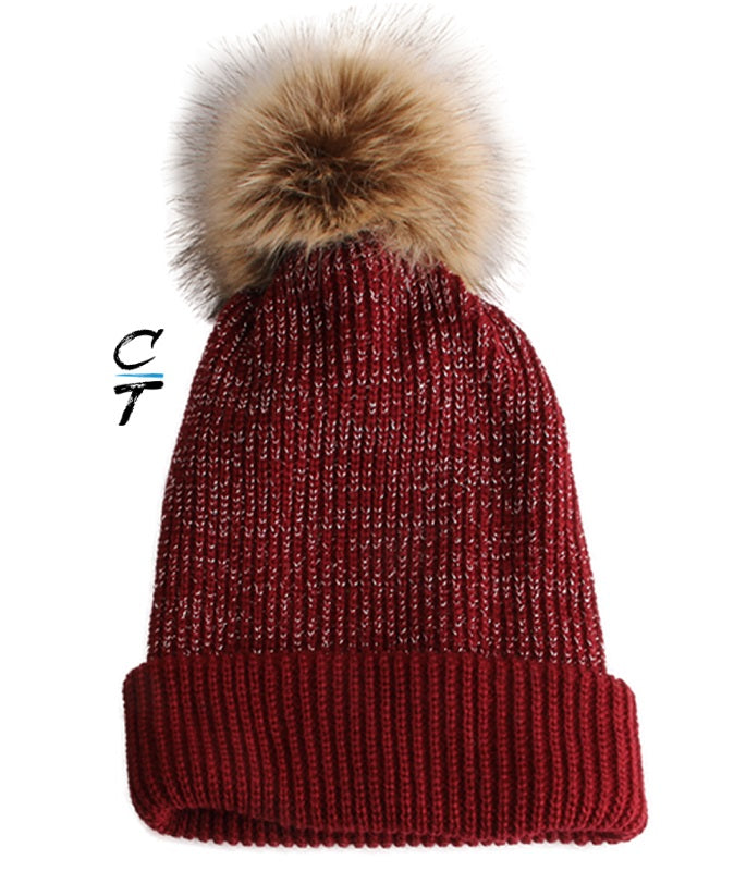 Cozy Time Slouchy Fur Pom Beanie Hat With Metallic Knitted Style for Extra Warmth and Comfort - Red