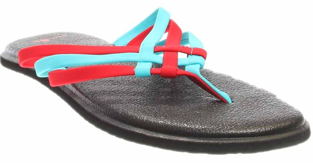 Sanuk Womens Yoga Salty Criss Cross Flip Flop Sandal - Aqua/Bright Red - Size 5