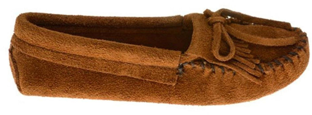 Minnetonka Womens Kilty Suede Softsole Moccasin - Brown - 7 M US