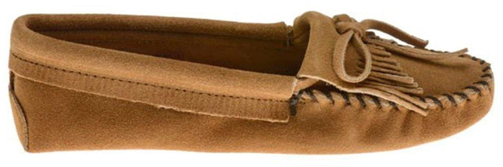 Minnetonka Womens Kilty Suede Softsole Moccasin - Taupe - 8 M US