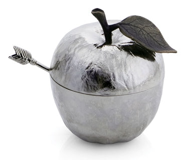 Michael Aram Apple Honey Pot With Spoon Nickelplate -