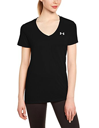 Under Armour Womens Tech V-Neck - S - Black/Metallic Silver
