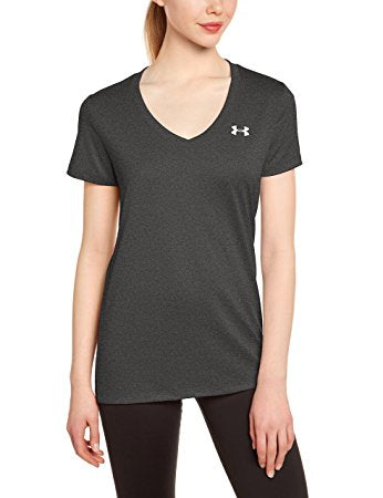 Under Armour Womens Tech V-Neck - L - Carbon Heather/Metallic Silver