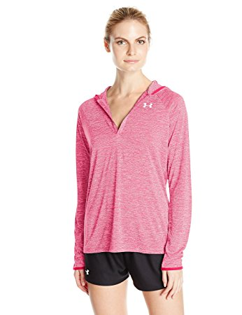 Under Armour Womens Tech Long Sleeve Hooded Henley - L - Pink Sky/Knock Out
