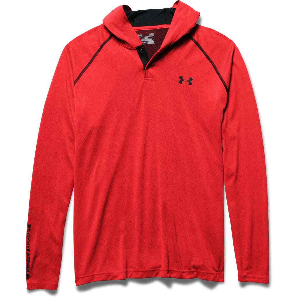 Under Armour Mens Tech Popover Hoodie - S - Rocket Red/Black