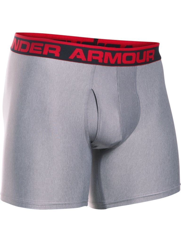 The Original 6 Boxerjock Boxer Briefs - M - True Gray Heather/Red