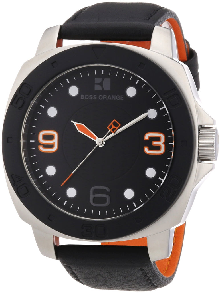 BOSS ORANGE Black Leather Mens Watch