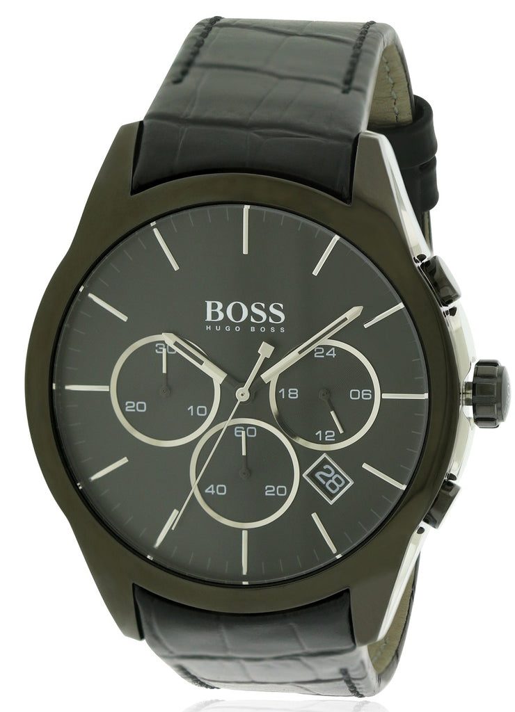 Hugo Boss Leather Chronograph Mens Watch
