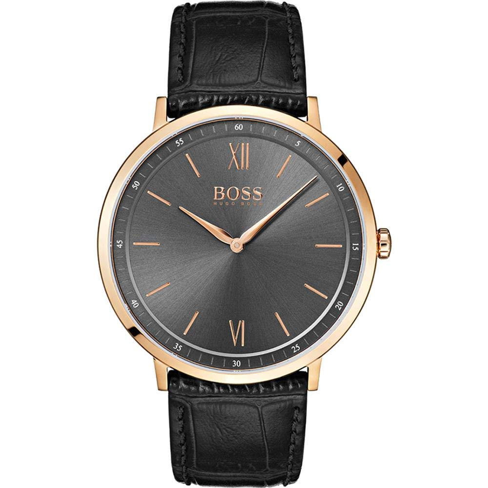 Hugo Boss Essential Black Leather Mens Watch
