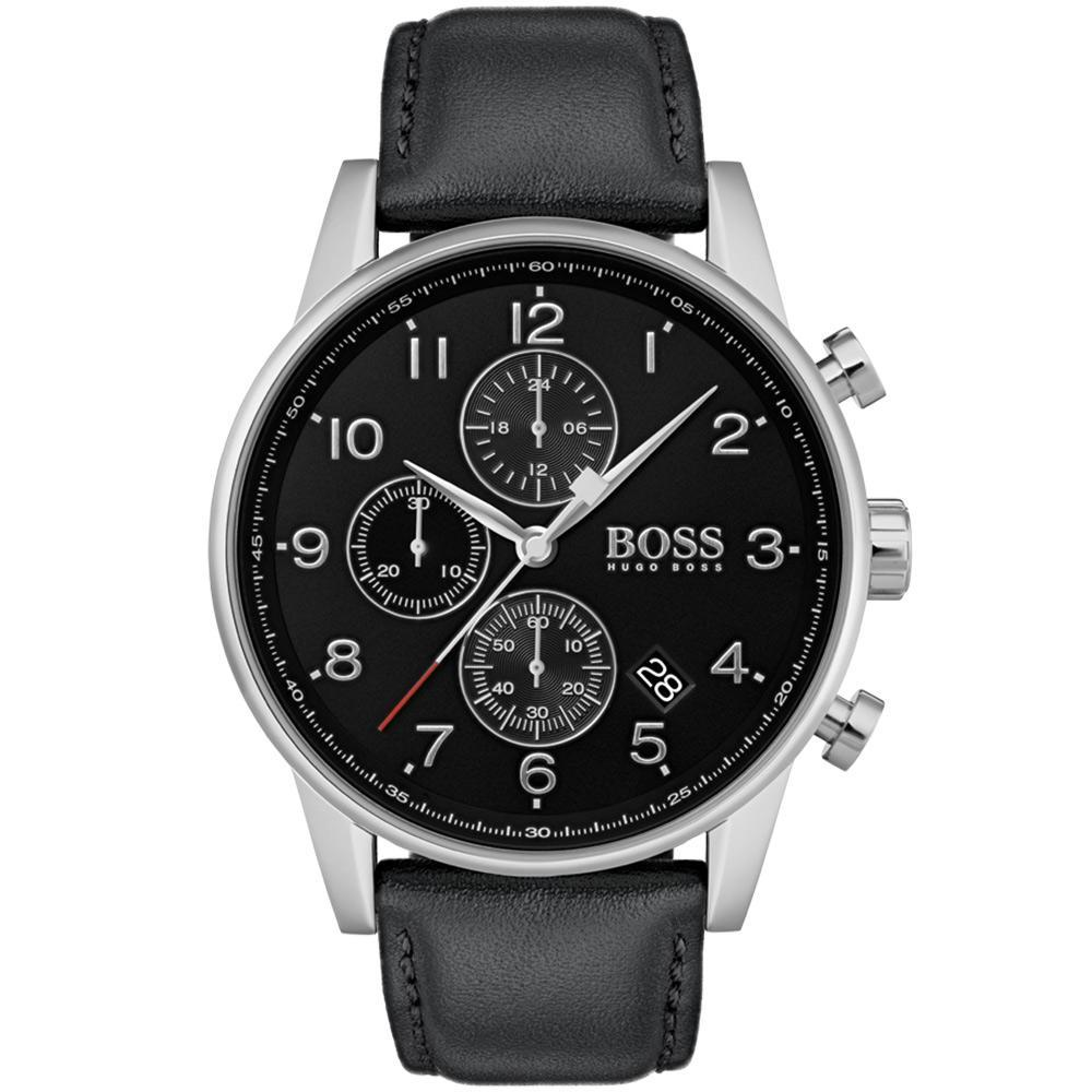 Hugo Boss Navigator Black Leather Mens Watch