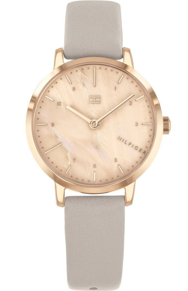 Tommy Hilfiger Rose Gold-Tone Leather Ladies Watch