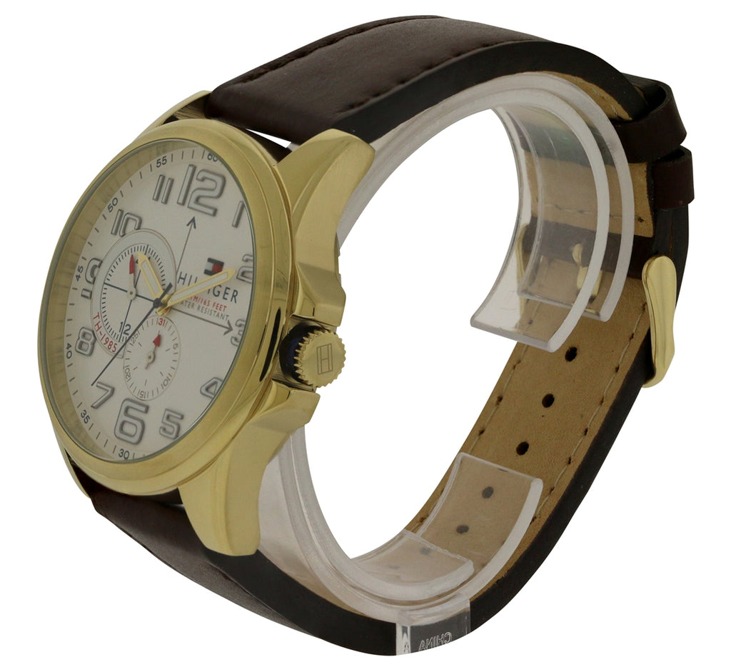Tommy Hilfiger Gold-Tone Leather Chronograph Mens Watch