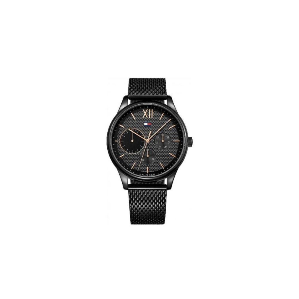 Tommy Hilfiger Black Stainless Steel Mesh Mens Watch
